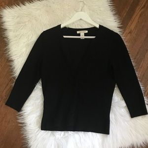 WHBM Black 3/4 Sleeve Cardigan